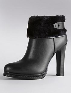 Leather Faux Fur Cuff Ankle Boots with Insolia®