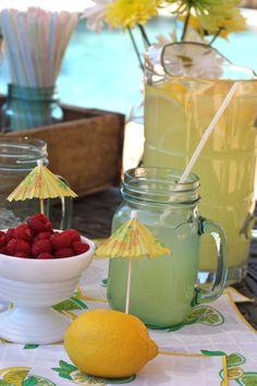 Lemonade by the pool. Mason jars from #Goodwill