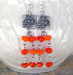 Tangerine beaded and silver earrings by Mindfuldesign on Etsy, $14.00