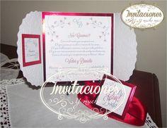 Terjeta de Boda en Blanco con detalles en rojo, perosnalizada con tarjeta para pases