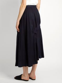 Click here to buy Y's By Yohji Yamamoto Distressed-dot gathered cotton skirt at MATCHESFASHION.COM