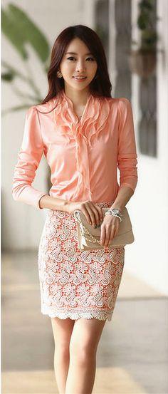 Stylish Ruffle Blouse. Elegant office wear.