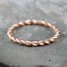 Rose Gold Band Twist 14k Ring Stacking Pink Wedding Friendship
