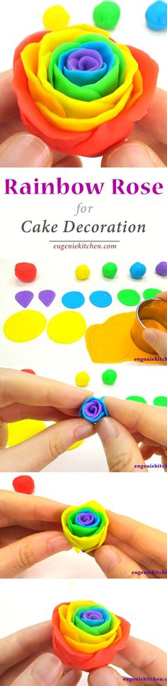 How to Make Rainbow Roses for Cake Decoration