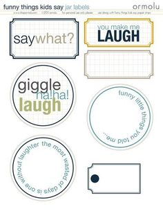 Funny things Kids Say Printable labels. Would make lovely scrapbooking headers