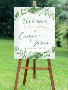 printable welcome to the wedding sign printable green wedding #weddingdecoration