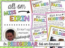 Norwegian All about me Back to school Book (bm & nn) Teacher Created Resources, School Resources, About Me Examples, All About Me Book, Leveled Books, First Day Of School Activities, Learning Games, Getting To Know You, Writing A Book