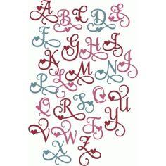 Silhouette Design Store - View Design #54987: valentine flourish alphabet