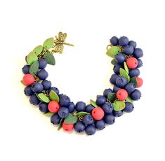 Siberian berry cha cha charm Bracelet -Polymer clay jewelry - Blue Red Berries - Handmade jewelry - blueberries Polymer clay bracelet