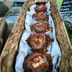Our fantastic, new oxtail terrine with red pepper and pickled cauliflower in a potato rosti nest pies! Scrummy! :)
