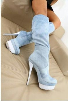 baby blue spike heeled boots