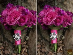 bright pink bridesmaids bouquets by beautiful blooms