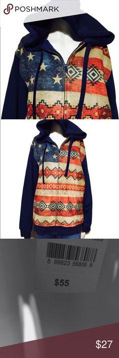 NWT American flag/ tribal Aztec hoodie Hybrid Threads. Brand new.  Very warm  zip up. Seems to run big Tops Sweatshirts & Hoodies