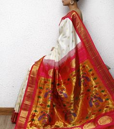 White Paithani Silk Saree