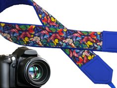 Butterflies Camera strap. Multicolor. Bright. Blue. Insects. Padded camera strap with embroidery options. Personalized gift. Durable. Light. code 00306