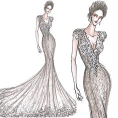Gorgeous fit & flare wedding dress sketch featuring a beautifully embellished bodice adorned with lace appliques.