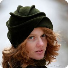 Sculpted Green Fur Felt Cloche Hat by GreenTrunkDesigns on Etsy, $189.00