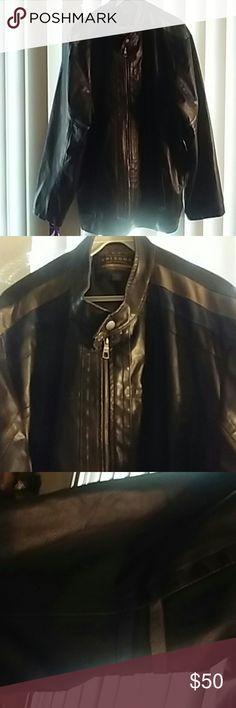Men's Arizona Aviator Coat Black leatherlike (not real leather) Blue and grey accents Button closure at neck Zipper closure Pockets Size 2XLT Arizona Jean Company Jackets & Coats