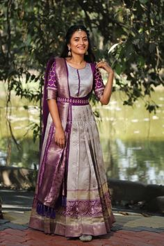 Party Wear Indian Dresses, Indian Gowns Dresses, Dress Indian Style, Indian Fashion Dresses, Indian Designer Outfits, Long Gown Dress, Saree Dress, Long Frock, Half Saree Designs