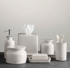 different idea from glass, but has that antique-y, unique feel, Flatiron Union Stoneware Bath Accessories - White accessories Flatiron Union Stoneware Bath Accessories - White