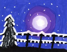 Snowy Winter Silhouette Painting