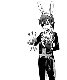 Ciel Phantomhive, , kuroshitsuji, , black butler, , manga, , bunny ears, , black and white