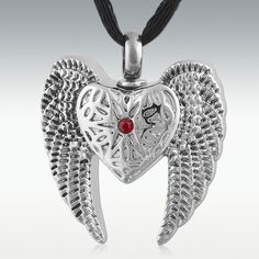 Angel Heart & Wings Stainless Steel Cremation Jewelry-Engravable