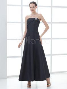 Glamour Black A-line Flower Taffeta Fashion Mother of the Bride Dress - Milanoo.com