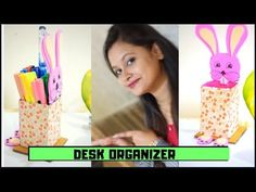 Hi everyone, Today we will learn how to make a bunny desk organizer with the help of used paper cover and foam sheet.For this we need a small used cover,foam. Desk Organization Diy, Diy Back To School, Foam Sheets, Crepe Paper, Paper Cover, Acrylic Colors, Craft Work, Creative Crafts, The Help