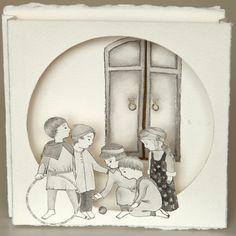 Thais Beltrame / Sobre Esse Silêncio Nosso / Nanquim e guache sobre assemblage de papel - 2013 - 14 x 14 cm