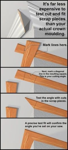 Test-fitting with scrap pieces will help find the correct moulding angles and avoid mistakes when installing expensive trim. Test-fitting with scrap pieces will help find the correct moulding angles and avoid mistakes when installing expensive trim. Moldings And Trim, Crown Moldings, Floor Molding, Trim Work, Home Repairs, Baseboards, Drywall, Diy Home Improvement, Home Projects