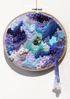 Items similar to Dreamscape Custom Order on Etsy Diy Bead Embroidery, Embroidery Needles, Modern Embroidery, Hand Embroidery Patterns, Cross Stitch Embroidery, Embroidery Designs, Abstract Embroidery, Textile Fiber Art, Textile Artists