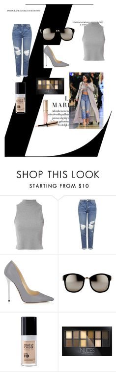 """Untitled #198"" by nihada106 ❤ liked on Polyvore featuring Glamorous, Topshop, Jimmy Choo, Linda Farrow, MAKE UP FOR EVER, Maybelline and By Terry"