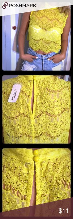 Lace Yellow Crop Top Brand new Lace detailed crop to, color is a nice yellow. A bit of mustard color I there. Details are amazing. Forever 21 Tops Crop Tops