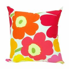 Wonderful colourful Marimekko Yellow/Orange/Pink Pieni Unikko Throw Pillow - Click to enlarge
