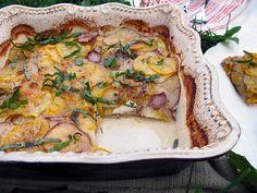 potato, squash and goat cheese gratin