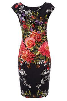 Wallis Black Floral Print Slinky Dress