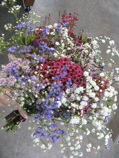 """""""country-time blossoms"""" texture-filled bridesmaid bouquet - statice, wax flower, baby's breath (www.gloryfloraldesigns.com)"""