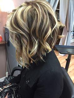 Bold chunky highlights  Cut blunt haircut at modern tekniques Shrewsbury by Kimmy