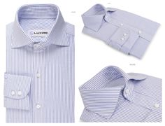 Blue University Stripes Oxford  An essential striped shirt for a formal day.   Features: Custom made Barba collar with standard 2-button cuffs.