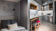 From having invisible cabinets to showcasing smart furniture picks, this tiny bachelor pad home inspires us to declutter and revamp our own space Small Studio Apartment Design, Studio Condo, Tiny Studio Apartments, Condo Interior Design, Studio Apartment Layout, Condo Design, Small Room Design, Studio Living, House Design