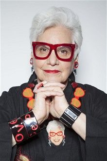 Style icon Sue Kreitzman models her bespoke Tatty Devine necklace in the Telegraph Magazine to celebrate her appearance on Fabulous Fashionistas.  In big and bold crystal red glasses