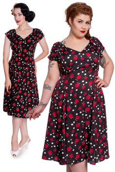 Sheila Black Apple Daisy Print Dress by Hell Bunny   Dresses