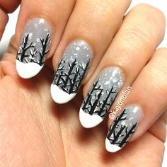 """This is p2 """"for that reason!"""" as the base polish for a snow covered wood nail art (inspired by a wallpaper)"""
