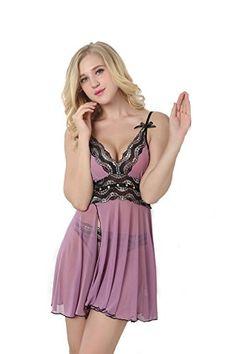 Geoot Fashion Lingerie Womens Sexy Sleepwear Dress XXL Purple >>> Visit the image link more details.
