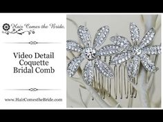 VIDEO- Elegant bridal hair comb featuring a sweet flower floral design of gorgeous high quality CZ rhinestones by Hair Comes the Bride. ~ #bridalhairaccessories  #bridalcomb  #bridalhaircomb