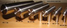 Arthur Harris solid stainless steel handles.   Available in 6 different diameters and custom made to length to the sixteenth of an inch.