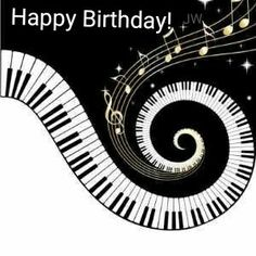 Unusual musical design featuring swirling piano keys with gold musical notes flowing from the centre of the keys. This design would make the perfect gift for the piano lover and is available on a collection of gifts and paper products. Happy Birthday Quotes, Happy Birthday Images, Birthday Greetings, Birthday Wishes, Happy Birthday Piano, Piano Art, Piano Music, Sheet Music, Jazz Art