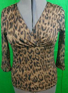 42c086e5d6e Chaps Classic Blouse Women Petite Size L 3 4 Sleeve Leopard Print Top Ladies