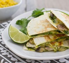 This Mushroom & Zucchini Quesadillas with Cilantro Pesto recipe is the perfect quick weeknight meal. Cilantro pesto is great on pasta too! Veggie Recipes, Mexican Food Recipes, Real Food Recipes, Vegetarian Recipes, Dinner Recipes, Cooking Recipes, Healthy Recipes, Cilantro Recipes, Tortillas